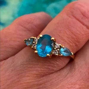 14KP FNA Yellow Gold, Blue Stone and Diamond Ring
